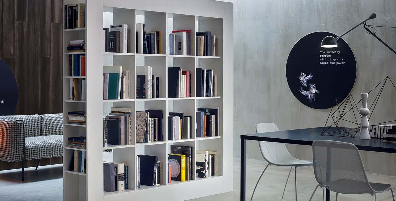 tecnoarredi arredamento interni zona giorno libreria bifacciale novamobili